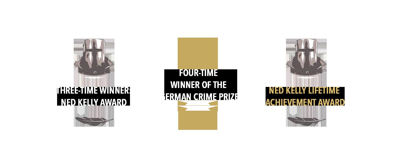 Info Graphic: 1. Three Time Winner Ned Kelly Award. 2. Three Time Winner of the German Crime Prize. 3. Ned Kelly Lifetime Achievement Award